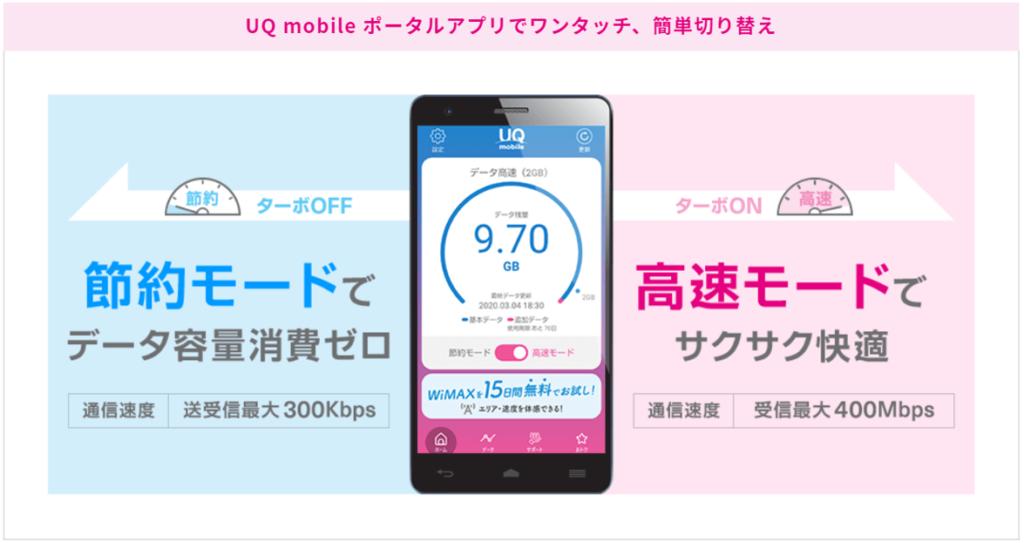 UQモバイル「節約モード」でデータ消費ゼロ