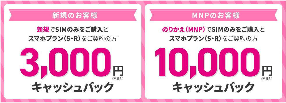 UQモバイルオンラインからの申込で最大10,000円キャッシュバック